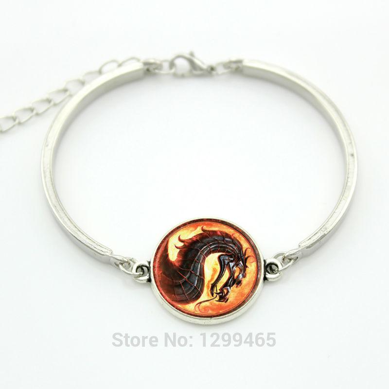 Trendy punk movie jewelry Glass glowing dragon charm bracelet Mortal Kombat Classic Scorpion Sub Zero Raiden