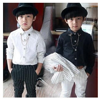 Children long sleeved shirt boys tide small gentleman dress collar chain white all-match black casual - Online Store 813817 store