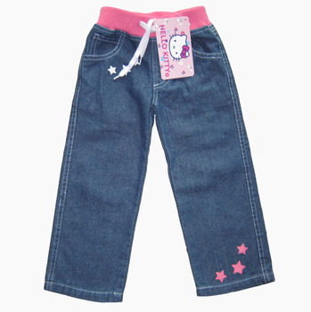 2014 new arrival hello kitty girl's jeans kid straight denim jeans for 2-5 years, cheap children long trousers, free shipping