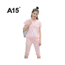 Buy A15 Girls Clothing Sets 2017 Summer Kids Clothes Girls Shorts Toddler Tracksuit Girls Kids Sports Suit Teens 8 10 12 14 16 Years for $14.35 in AliExpress store