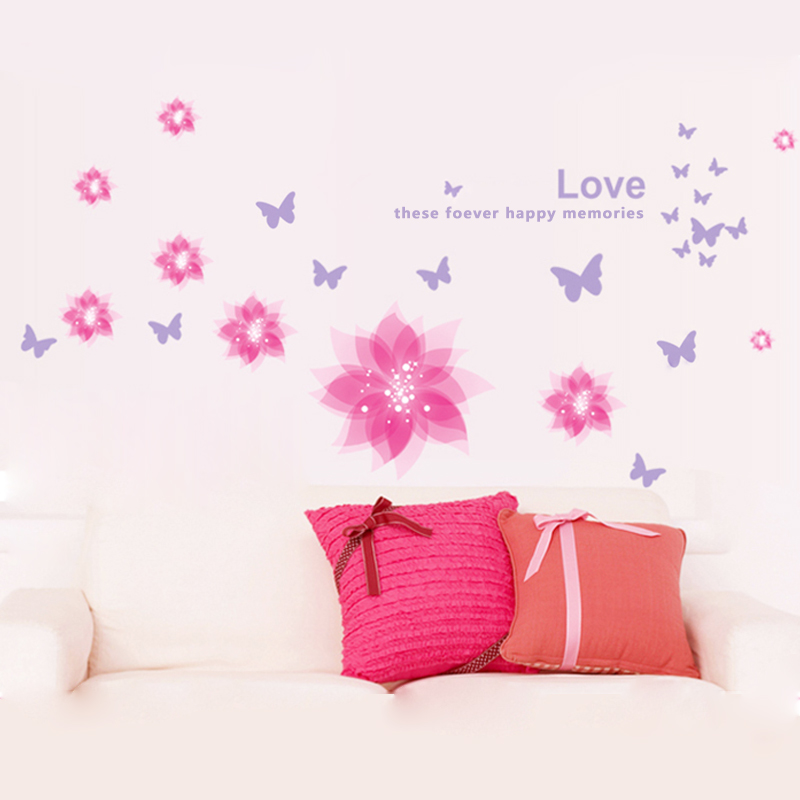 1267 Warm bedroom wall stickers butterflies and flowers wall stickers sofa TV wall Fridge Magnet removable wall stickers