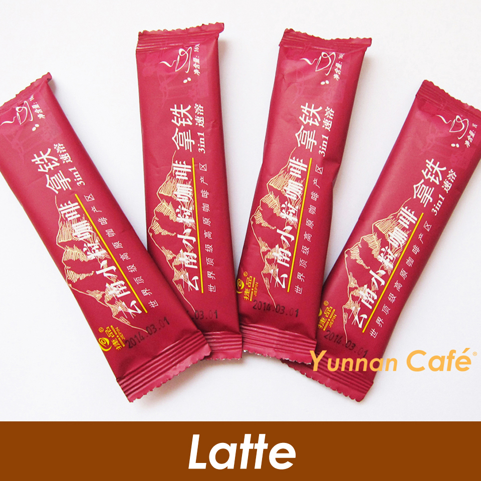 Free Shipping Latte Flavor Yunnan Arabica 3 IN 1 Instant Coffee Slimming Body 16G x 50PCS