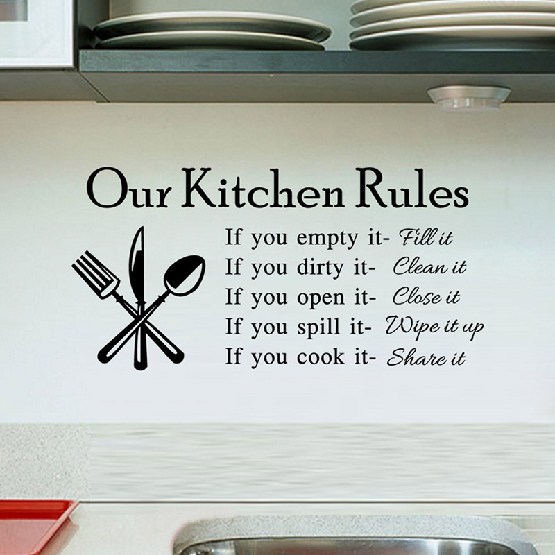 Wall Art Stickers Quotes For Kitchen : Aliexpress buy kitchen rules living room
