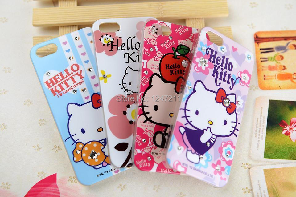 2015 Hot Sale Hello Kitty Rhinestone Crystal Bling Cell Phone Case Diamond hello kitty for iphone 5 5s 5g cases ,free shipping(China (Mainland))