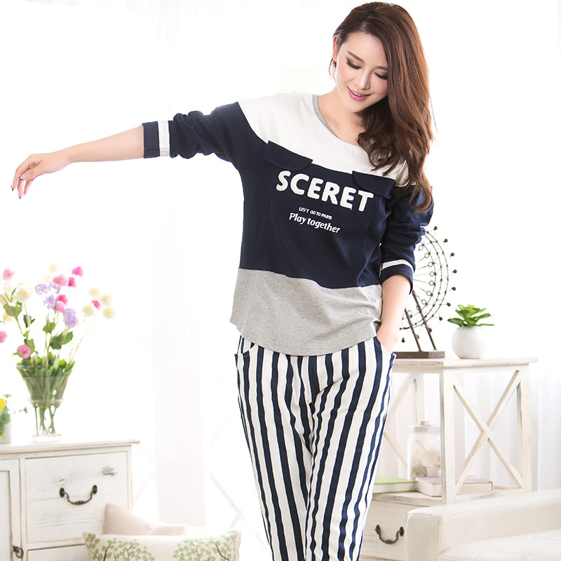 Women long-sleeved pajamas sets new autumn winter 2015 women's knitted cotton sports and leisure suit tracksuit Outdoor clothing