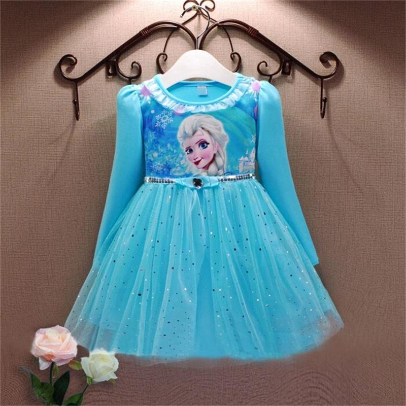 Autumn Girls Anna Elsa Dress 2015 Girls Party Role-play The Snow Queen Dress Children Kids Christmas Costume for Girls Clothes(China (Mainland))