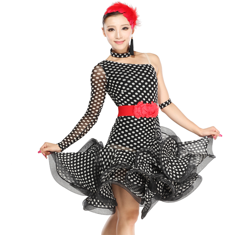 Latin dance clothes Latin dance skirt square dance clothes Latin dance performance wear polka dot hb209