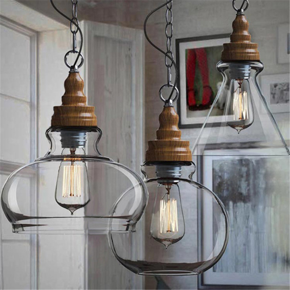 Creative Loft Style Vintage Industrial Pendant Lights Three Shades Glass Ceil