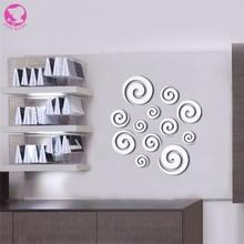 Hot Fashion Shining Acrylic Mirror Wall Sticker Decoration Home Office Art Decor  3D Wall Decals(China (Mainland))