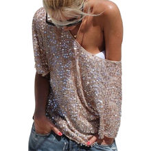 Women 3/4 Sleeve Sequin Loose Tops Fashion Casual T Shirts Pullovers Dance T Shirts(China (Mainland))