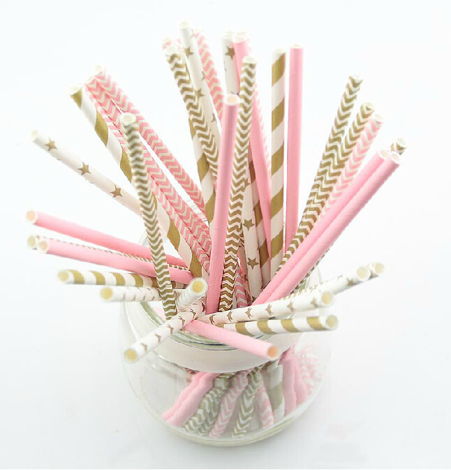125pcs(5bags)pink gold striped mixed kids birthday wedding decorative party decoration event supplies drinking Paper Straws(China (Mainland))