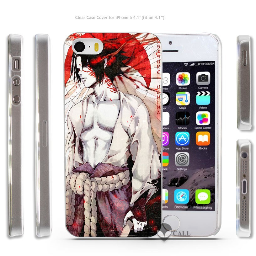 Naruto Sasuke Uchiha Anime Japan Hard Transparent Clear Case Cover Coque Shell for iPhone 4 4s 5 5s 5c 6 6 Plus