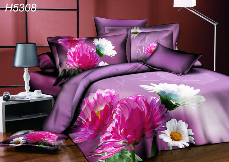High Definition digital 3D bedding sets sunflower 3d comforter cover bedsheet pillowcases sunflower 3d oil painting bed set 5308(China (Mainland))