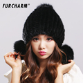 100 Real Mink Fur Hat for Women Winter Knitted Mink Fur Beanies Cap with Fox Fur
