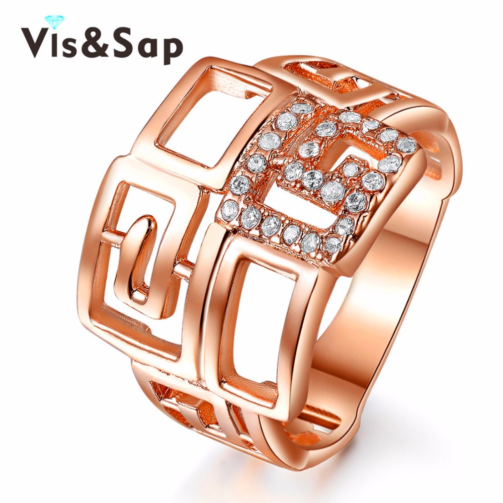2016 China style Rose Gold plated Rings For Women/men fashion Jewelry luxury Bijoux Wholesale cz diamond top quality VSR153(China (Mainland))