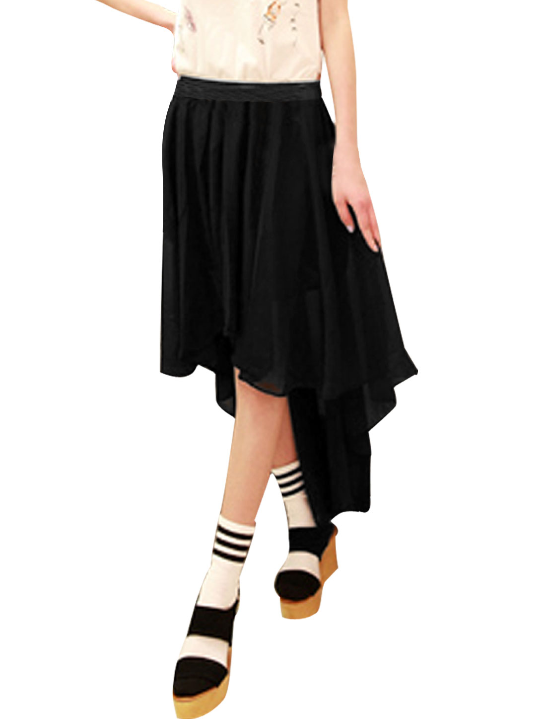 buy wholesale black chiffon high low skirt from