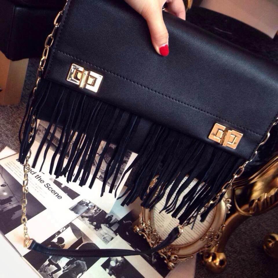 ON SALE Tassel Fashion Punk Tote Handbag Rock Shoulder Bag Messenger Bag(China (Mainland))