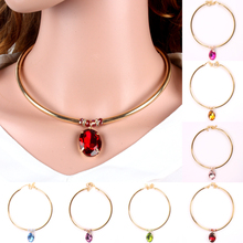 gemstone chokers necklace glass crystal pendant new fashion chain necklace women jewelry 1660