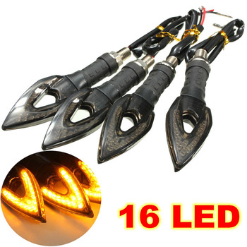 4 x Black Amber Motorcycle Moto 16 LED Turn Signal Indicator Lights Lamp for Honda for Yamaha for Suzuki for Kawasaki for Ducati
