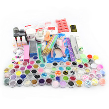 Hot Acrylic Powder Liquid Brush Glitter Clipper Primer File Nail Art Tips Tools 28 in 1 Set(China (Mainland))