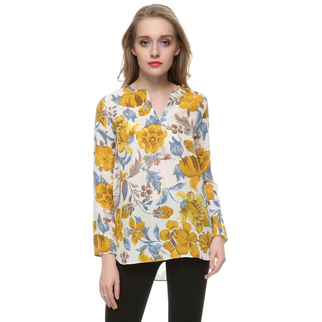 Женщины желтый цветочные шифон блузки старинные V шеи длинным рукавом blusa feМиниna ...