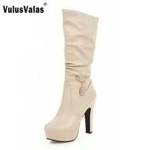Buy Woman Round Toe Knee Boots Fashion Woman Platform Thick High Heels Shoes Female Botas Feminina Size 31-45 for $29.98 in AliExpress store