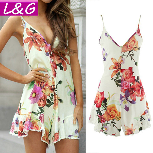 Women Summer Style Jumpsuit 2015 Vintage Floral Print Playsuit Sexy Spaghetti Strap Jumpsuits Rompers Women Clothing Mono 10155(China (Mainland))