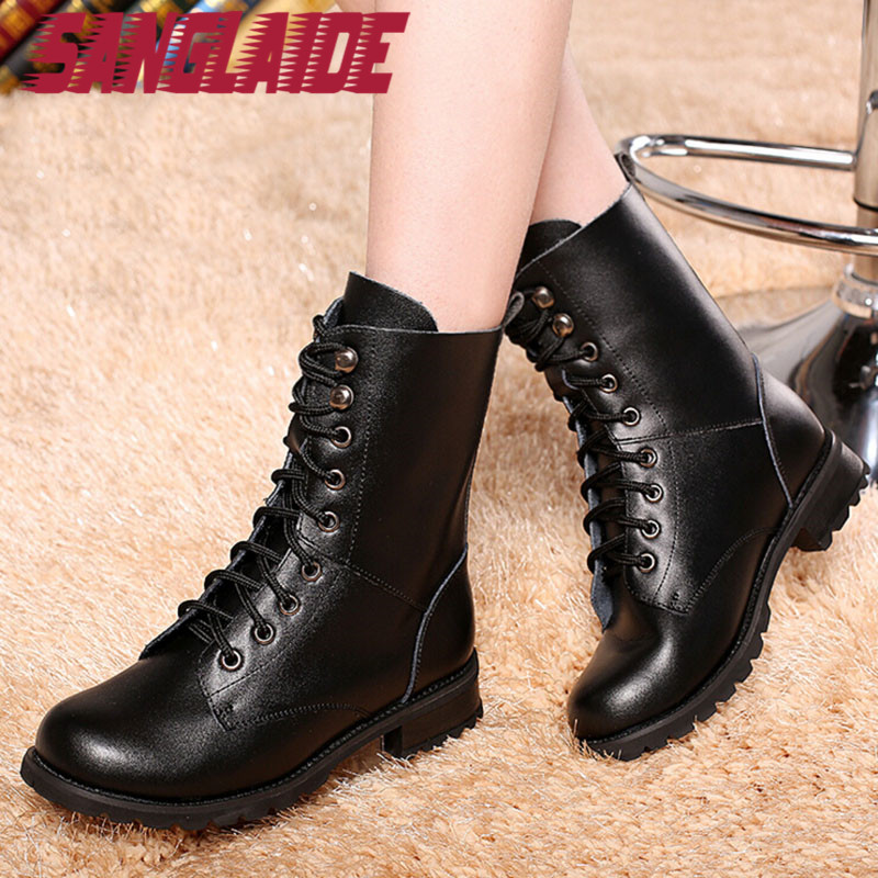 SANGLAIDE 2016 Fashion Women Winter Ms 2016 Boots Genuine Leather Boots Famous Designer Brand Military Shoes Snow High Black(China (Mainland))