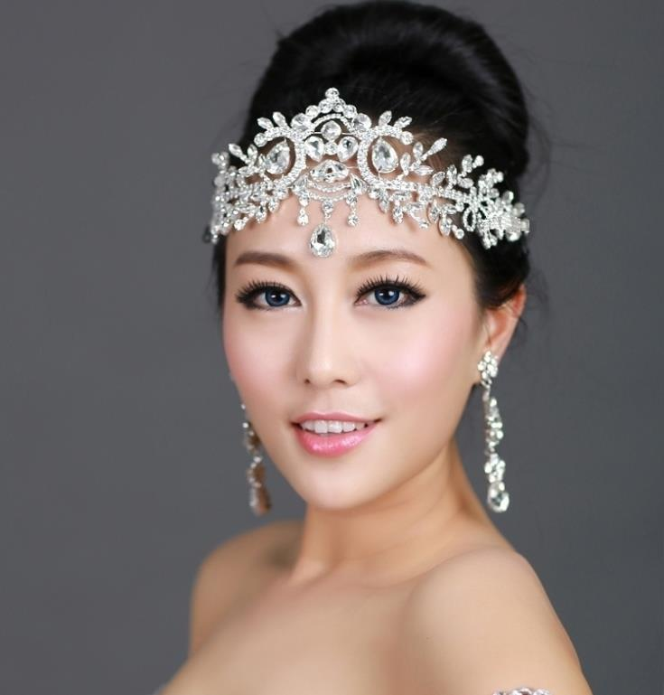 2015 New Hot Sale Bride Head Chain Shinning Crystal Hair Jewelry Wedding Hair Accessories Headwear Headpiece Crown Tiaras<br><br>Aliexpress