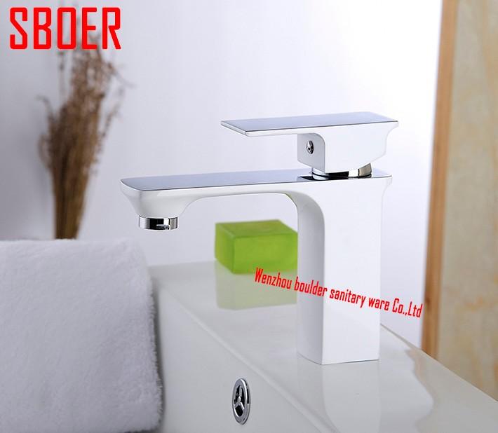 Купить Одной ручкой / отверстие ванная комната / туалетная комната / туалет бассейна раковина кран белую окраску с хромированной латуни нажмите