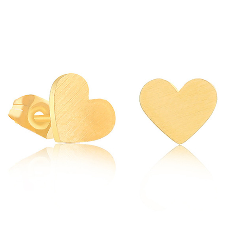 Minimalism Heart Stud Earrings 18 k Gold Plated Stainless Steel Statement Earring Wedding Bridesmaid Gift(China (Mainland))