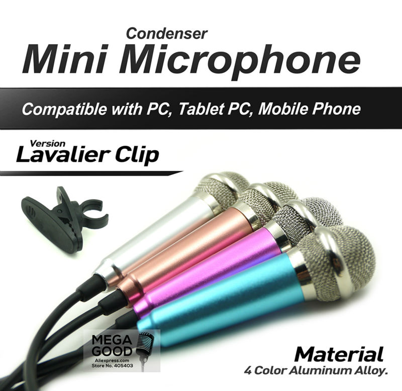 3.5mm Audio Plug Wired Mini Microphone Portable Stereo Condenser Mic for Chatting/Karaoke/PC/Phone/Ipad etc with Lavalier Clip(China (Mainland))