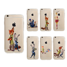 Cute Zootopia Case for Apple iphone 6 6s or 6 plus 6s plus Soft TPU Fundas Cover Coque Capa Para rabbit Judy Hopps Nick Wilde