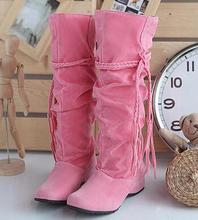 2015 primavera otoño nueva moda borla mujeres tacones ocultos de alta de la pierna botas de nieve de terciopelo recta de gran tamaño, más 40-43(China (Mainland))