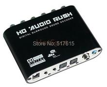 Цифровой аудио декодер Dolby DTS AC3 5.1 декодер оптический к RCA аналоговый, 2 toslink, 1 коаксиальный вход, 2.1 / 5.1 бивалентное