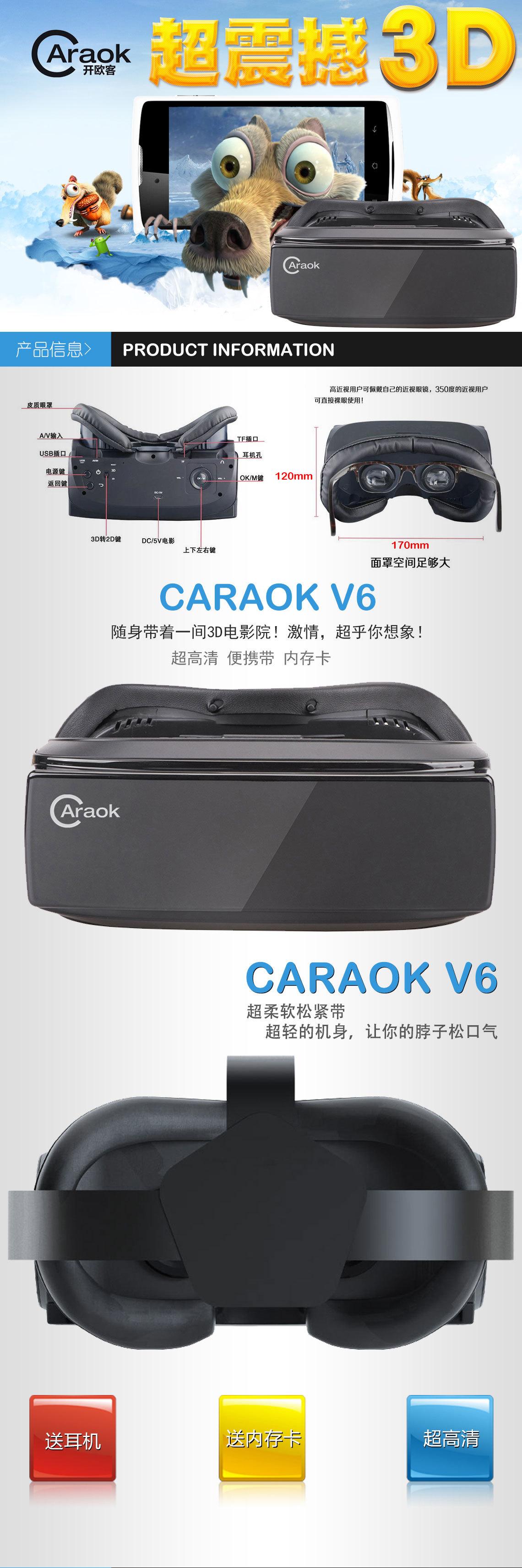 ถูก Cdragon CARAOK-V6 VRเครื่องแบบบูรณาการความจริงเสมือนตาเลนส์สวมใส่3หมวกกันน็อคVRแว่นตา