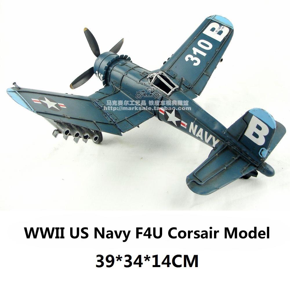 WWII US Navy F4U Corsair Fighter Plane Model handmade vintage airplane metal craft decoration gift(China (Mainland))