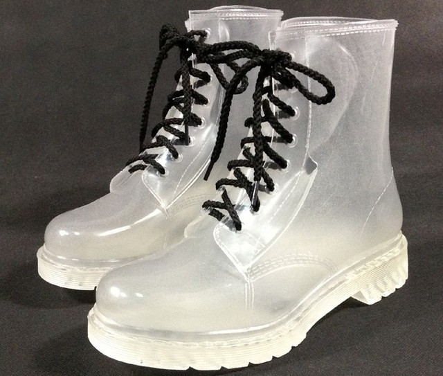 HOT Womens Shoes Clear Rain Boots Rubber Ankle Boots Wedge Med Heels Martin Boot