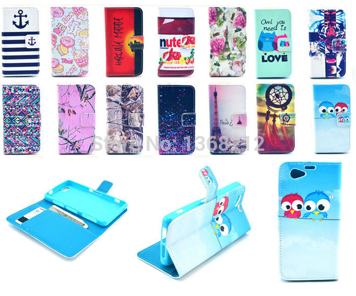 1PCS Owls Tower Tiger Flowers Fashion Flip Wallet Stand Cover Cases For Sony Xperia Z1 Mini Compact D5503 M51w PU Leather Case(China (Mainland))
