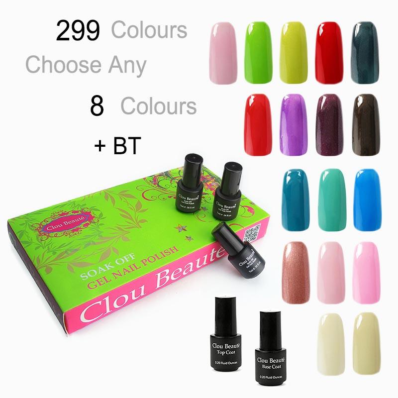 Clou Beaute 299 Colors (SONP Any 8 Colors 7ml + Base Top Coat) UV Led Nail Gel Polish Nail Art Paint UV Gel Soak Off(China (Mainland))