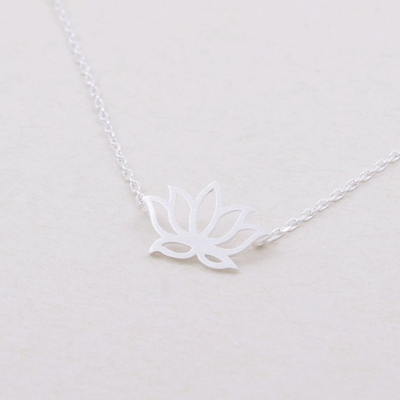 Gold Silver Lotus Necklace 1