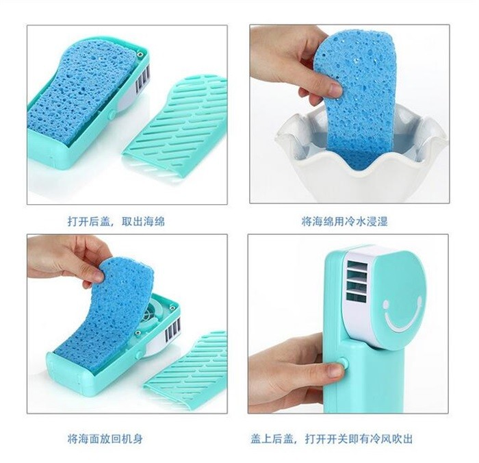 2017 New smile face handhold mini air conditioner fan cooling fan 600mAH battery office USB fan