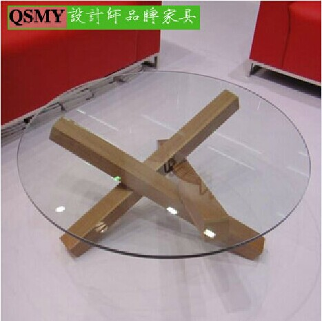 Designers wood coffee table thicker glass minimalist modern home furniture(China (Mainland))
