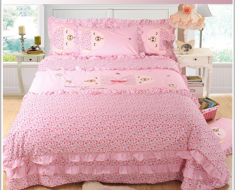 Best quality 100% cotton animal lovely pig patterns queen king size bed sheet set children bedding set CUTE 4pcs bedding set(China (Mainland))