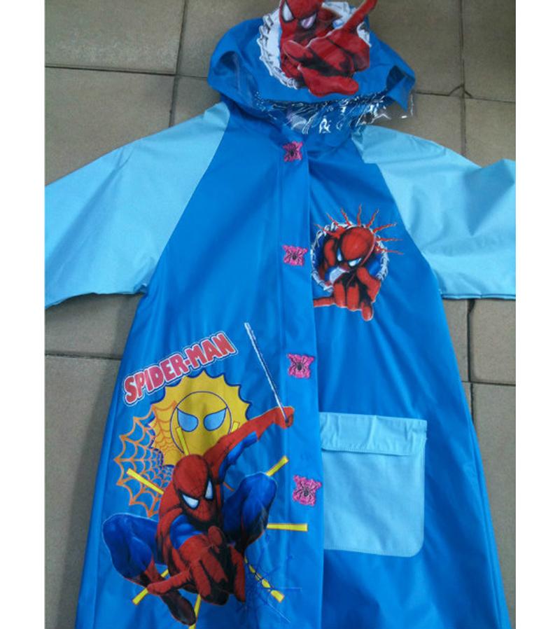 Free shipping, plastic rain poncho children's cartoon spiderman raincoat plastic rain poncho kid rainwear(China (Mainland))