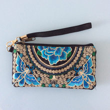 New chinese style embroidery peony clutch women embroidered butterfly plum flower clutches woman zipper casual mobile phone bag(China (Mainland))