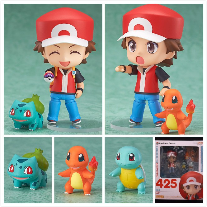 Pokemon PVC Figure Toy Nendoroid Ash Ketchum Zenigame Charmander Bulbasaur Action Figure Pokemon Red font b