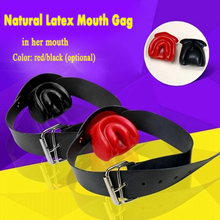 Buy Nature latex mouth gag leather harness bondage restraints gags ball slave bdsm fetish adult games erotic sex toys couples for $19.46 in AliExpress store