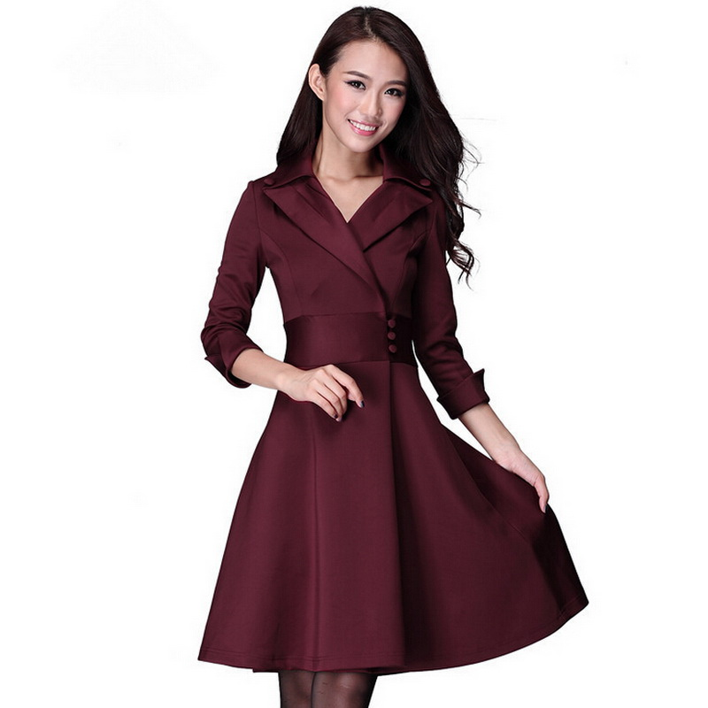 Luxury Women39s Korean Fashion Office Dress OL 34 Sleeve Chiffon Skirt Dress