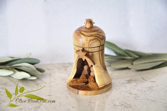 Free shipping! Olive wood carved Christmas tree nativity set holy family cave bell shape - Holy land Handmade artware(China (Mainland))